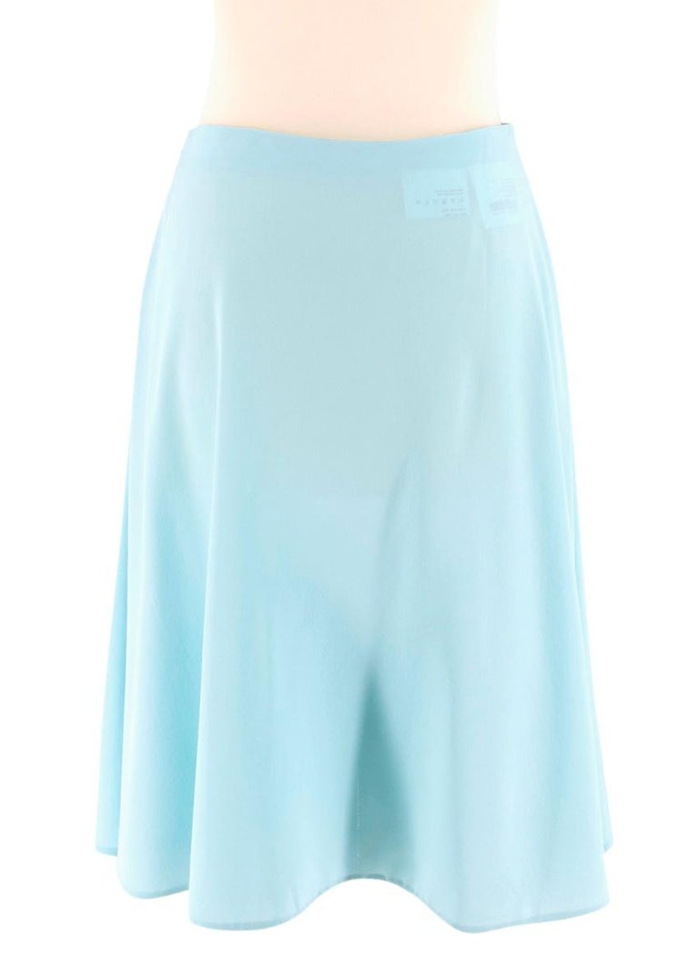 Prada Pleated Turquoise Silk Skirt XXS In Excellent Condition For Sale In London, GB