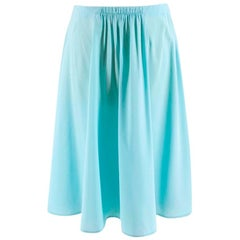 Prada Pleated Turquoise Silk Skirt XXS