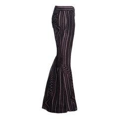 Prada plum checkered silk organza bell bottom evening pants, ss 2008