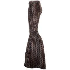 Prada plum checkered silk organza bell bottoms evening pants, ss 2008