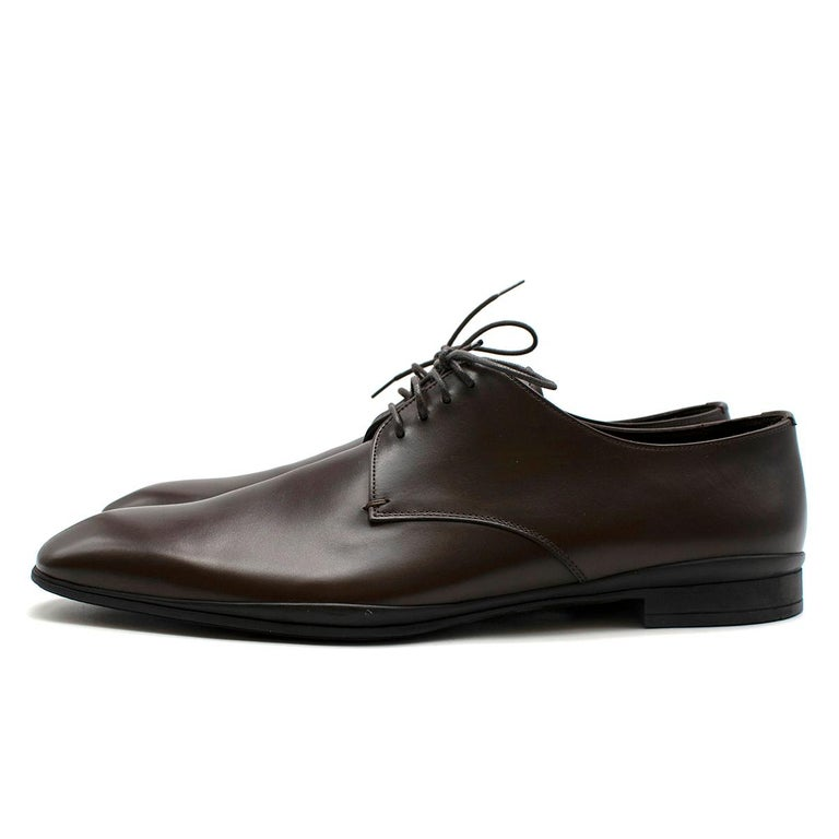 Black Prada Polished Dark Brown Leather Lace up Shoes - Us size 9.5 For Sale