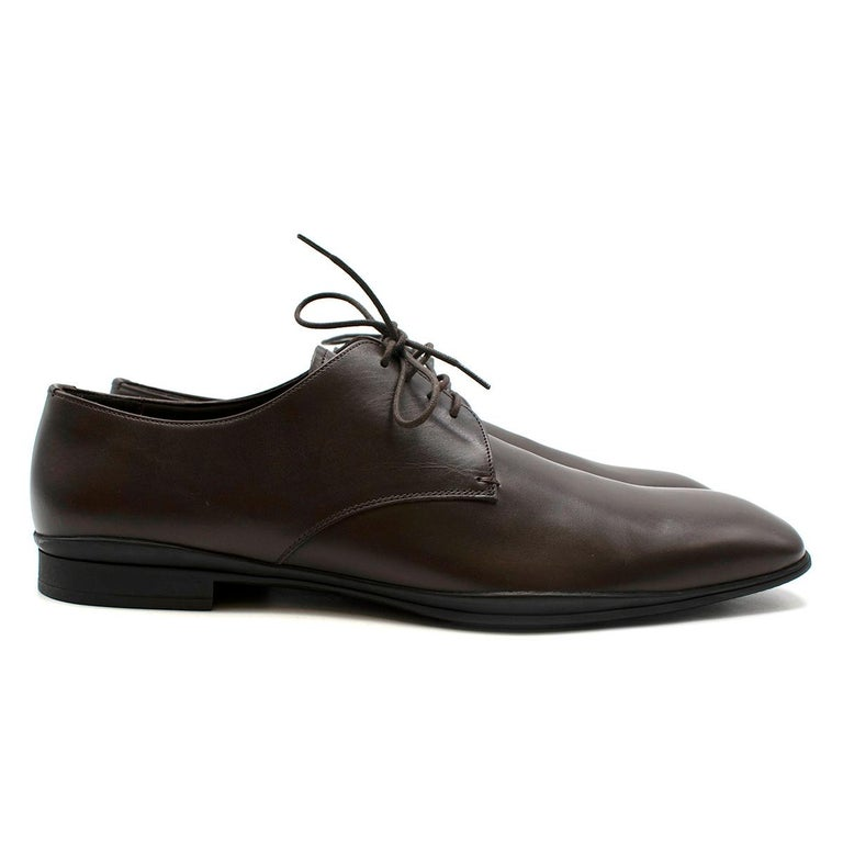 Men's Prada Polished Dark Brown Leather Lace up Shoes - Us size 9.5 For Sale