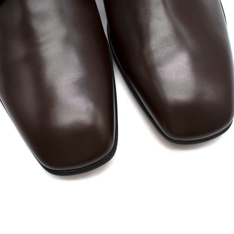 Prada Polished Dark Brown Leather Lace up Shoes - Us size 9.5 For Sale 1