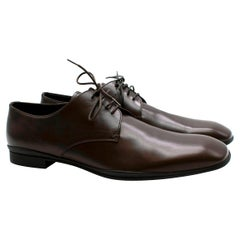 Prada Polished Dark Brown Leather Lace up Shoes - Us size 9.5