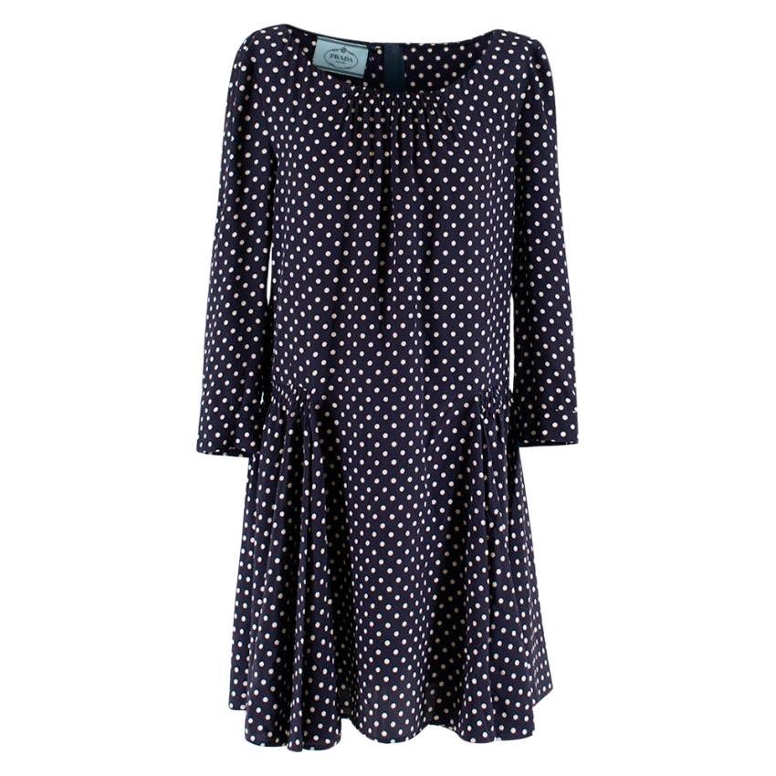Prada Polka Dot Navy Silk Swing Dress - Size US 8