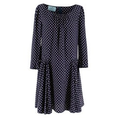 Prada Polka Dot Navy Silk Swing Dress XL 41
