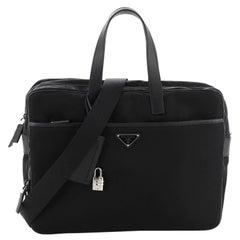 Prada Porta Computer Briefcase Tessuto and Saffiano Leather Medium