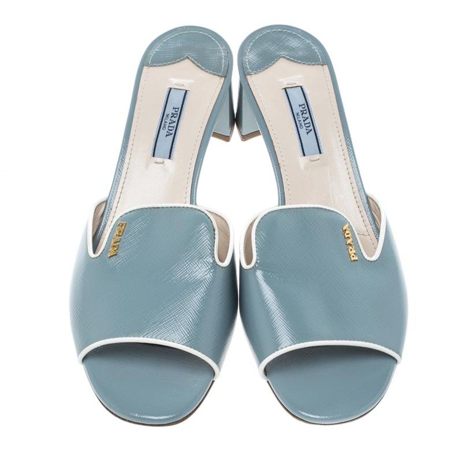 4c851a50c6d Prada Powder Blue Patent Saffiano Leather Block Heel Slides Size 39 For  Sale at 1stdibs