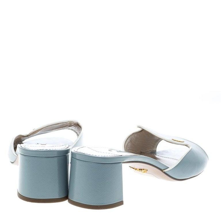 7f07589cd503 Gray Prada Powder Blue Patent Saffiano Leather Block Heel Slides Size 39  For Sale