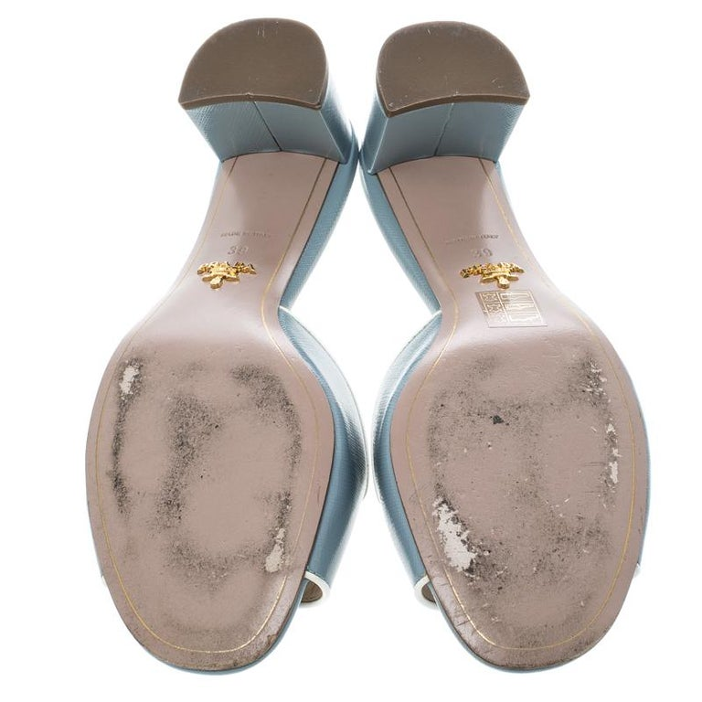a8427a689a8d Prada Powder Blue Patent Saffiano Leather Block Heel Slides Size 39 In Good  Condition For Sale