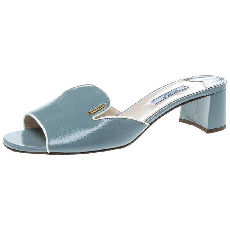 90a08ae6201c72 Prada Powder Blue Patent Saffiano Leather Block Heel Slides Size 39 For Sale  at 1stdibs
