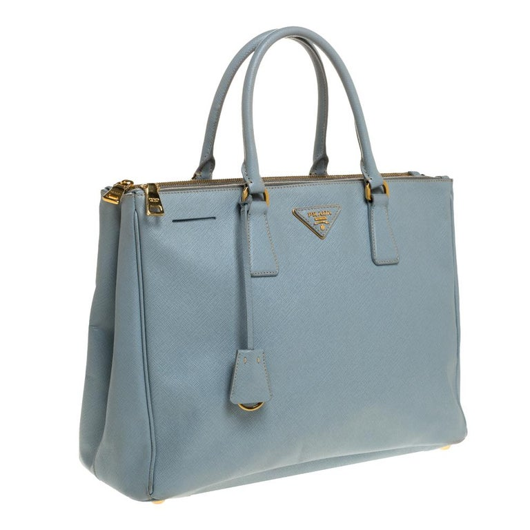 Gray Prada Powder Blue Saffiano Lux Leather Large Double Zip Tote For Sale