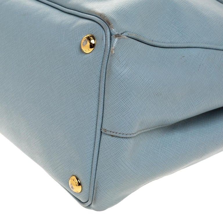 Prada Powder Blue Saffiano Lux Leather Large Double Zip Tote For Sale 1