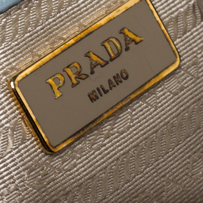 Prada Powder Blue Saffiano Lux Leather Large Double Zip Tote For Sale 3