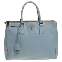 Prada Powder Blue Saffiano Lux Leather Large Double Zip Tote