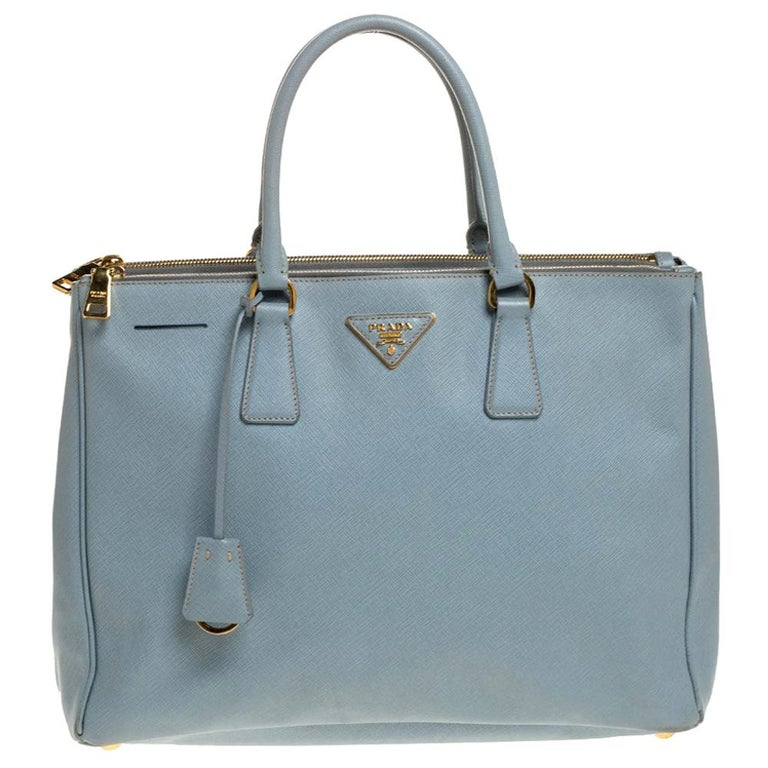 Prada Powder Blue Saffiano Lux Leather Large Double Zip Tote For Sale