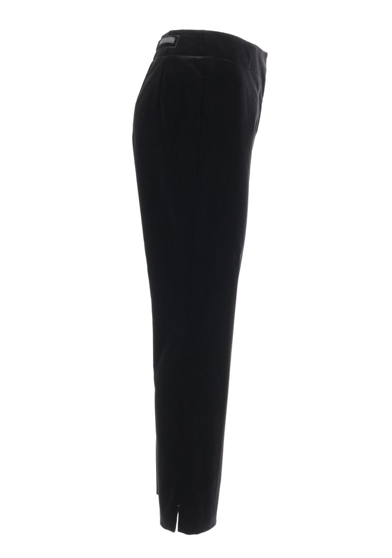 PRADA Pre-Fall 2009 Black Velvet Stretch Cigarette Trouser Pants - New With Tags In Excellent Condition For Sale In Thiensville, WI