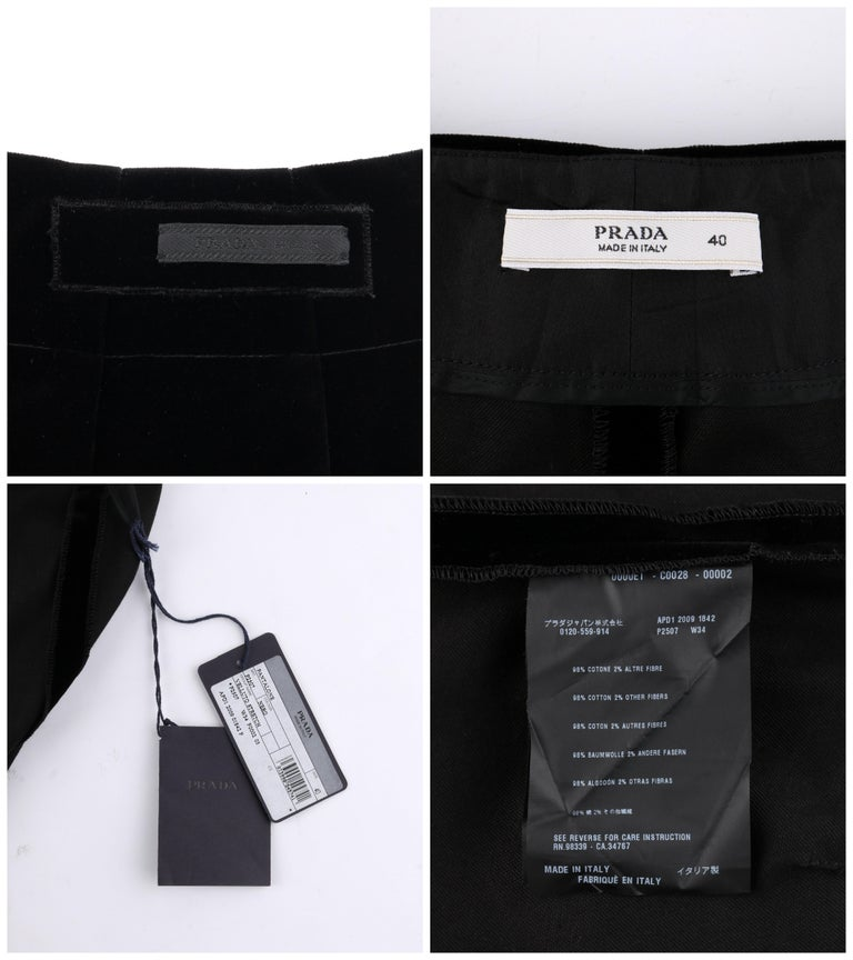 PRADA Pre-Fall 2009 Black Velvet Stretch Cigarette Trouser Pants - New With Tags For Sale 2