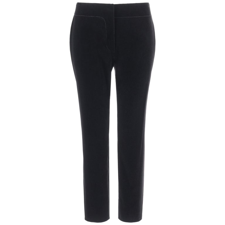 PRADA Pre-Fall 2009 Black Velvet Stretch Cigarette Trouser Pants - New With Tags For Sale