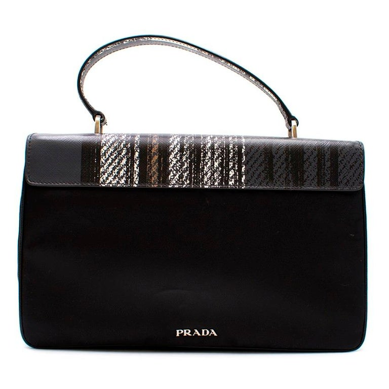 Black Prada Printed Top Handle Bag For Sale