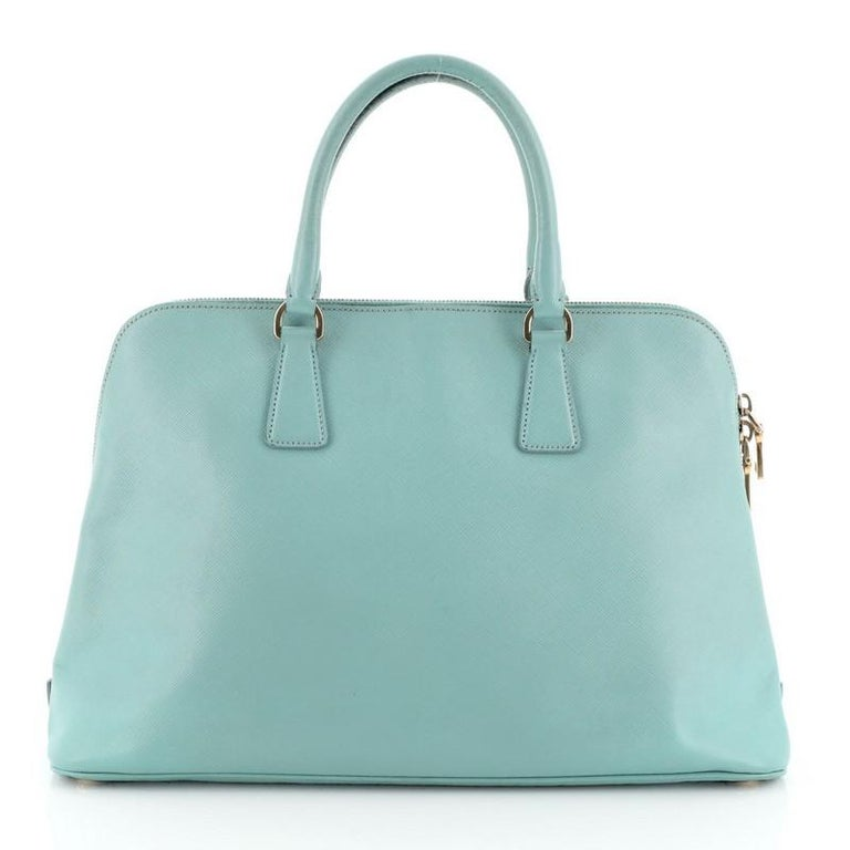 Blue Prada Promenade Bag Saffiano Leather Large For Sale