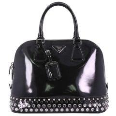 Prada Promenade Handbag Embellished Spazzolato Leather Large