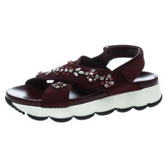 Prada Purple Fabric Crystal Embellished Platform Flat Sandals Size 38.5