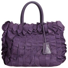 Prada Purple Gathered Nylon Tote Bag