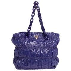 Prada Purple Gaufre Patent Leather Chain Tote