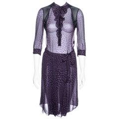Prada purple heart printed silk chiffon wrap skirt and blouse set, ss 2000