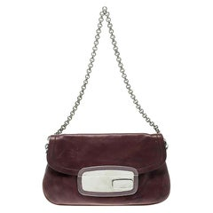 Prada Purple Leather Chain Shoulder Bag
