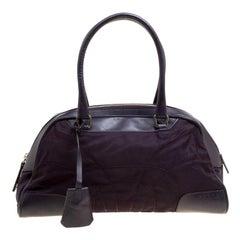 Prada Purple Nylon and Leather Satchel