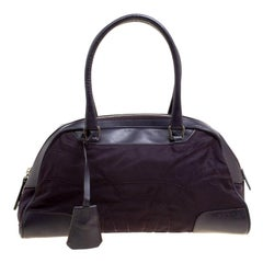 Prada Purple Nylon and Leather Satchel