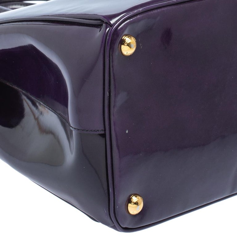 Prada Purple Patent Leather Large Double Zip Tote For Sale 5