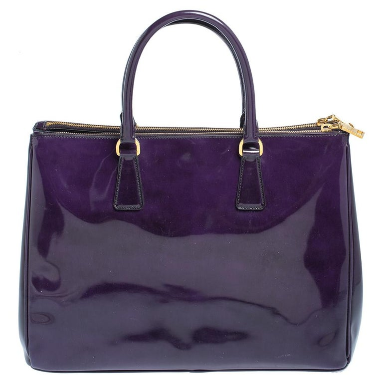 Black Prada Purple Patent Leather Large Double Zip Tote For Sale