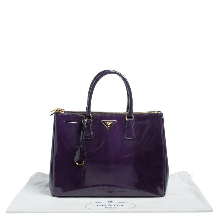 Prada Purple Patent Leather Large Double Zip Tote For Sale 1