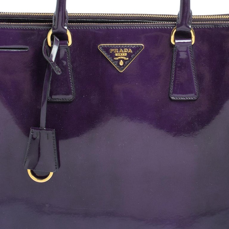 Prada Purple Patent Leather Large Double Zip Tote For Sale 2