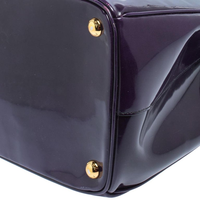 Prada Purple Patent Leather Large Double Zip Tote For Sale 3