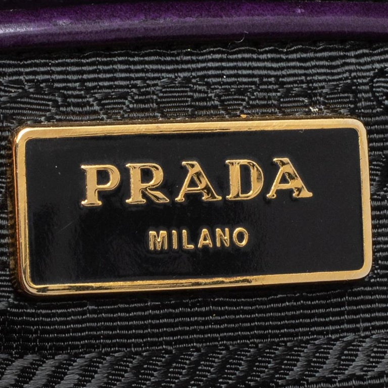 Prada Purple Patent Leather Large Double Zip Tote For Sale 4