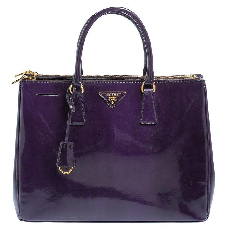 Prada Purple Patent Leather Large Double Zip Tote For Sale