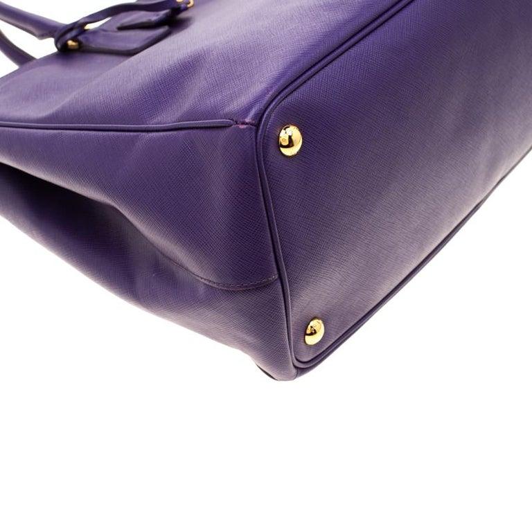 Prada Purple Saffiano Lux Leather Large Double Zip Tote 5