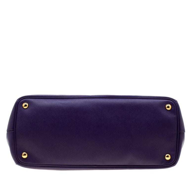 Prada Purple Saffiano Lux Leather Large Double Zip Tote 6