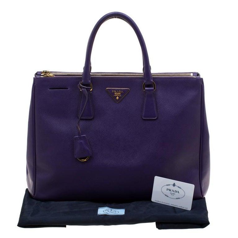 Prada Purple Saffiano Lux Leather Large Double Zip Tote 7