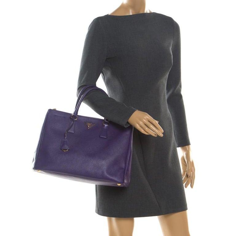 Black Prada Purple Saffiano Lux Leather Large Double Zip Tote