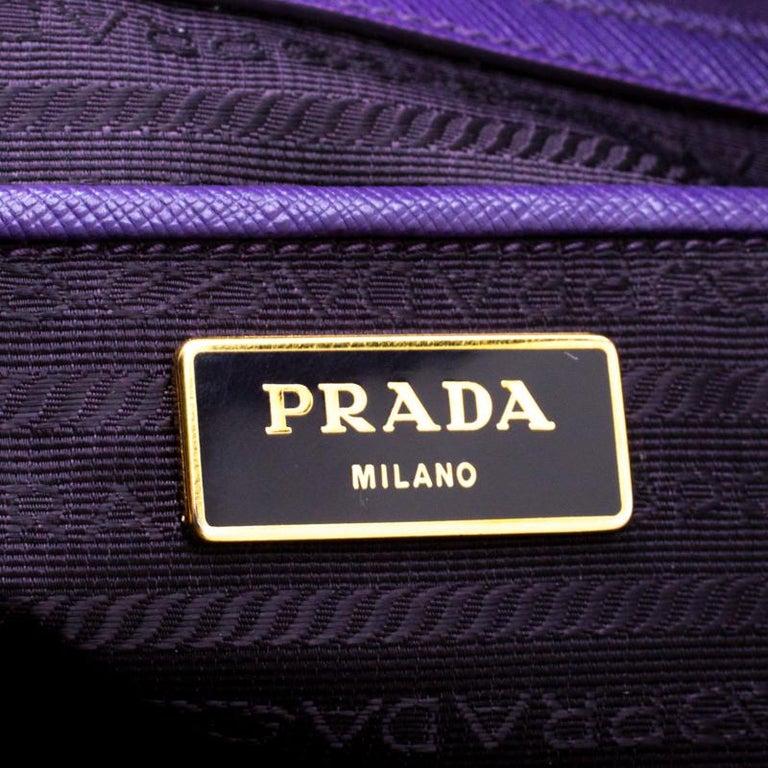 Women's Prada Purple Saffiano Lux Leather Large Double Zip Tote