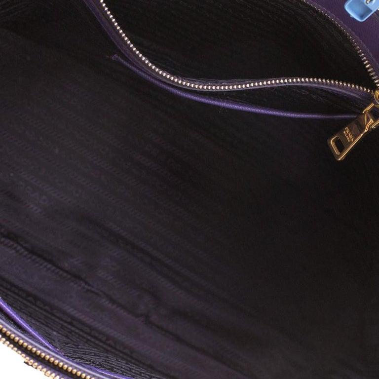 Prada Purple Saffiano Lux Leather Large Double Zip Tote 1