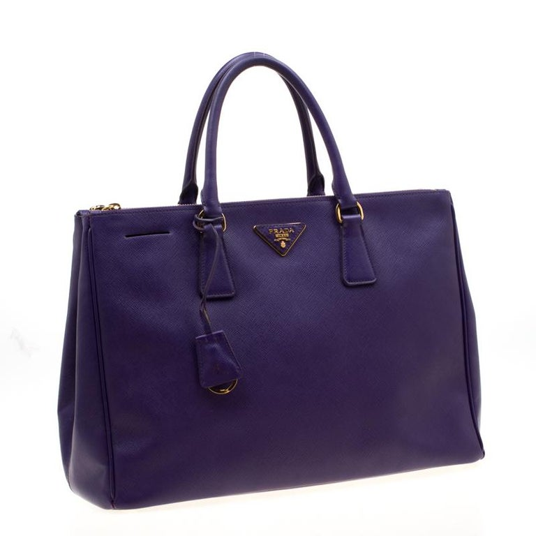 Prada Purple Saffiano Lux Leather Large Double Zip Tote 2