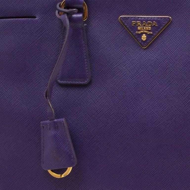 Prada Purple Saffiano Lux Leather Large Double Zip Tote 3