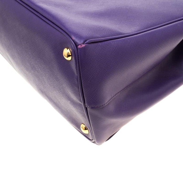 Prada Purple Saffiano Lux Leather Large Double Zip Tote 4