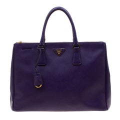 Prada Purple Saffiano Lux Leather Large Double Zip Tote
